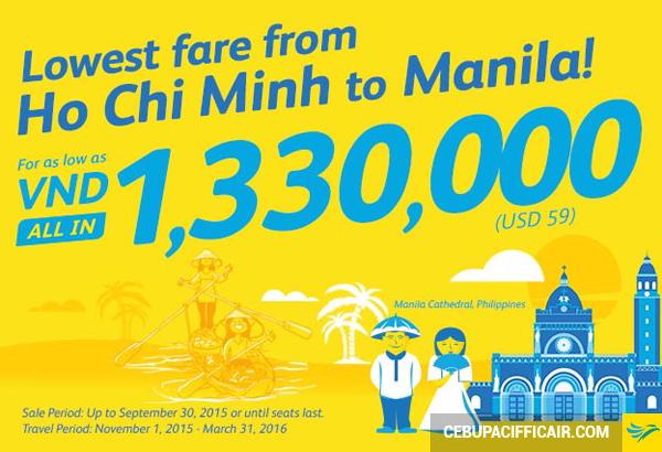 Cebu Pacific giảm giá vé máy bay đi Manila chỉ còn 1.330.000 VND